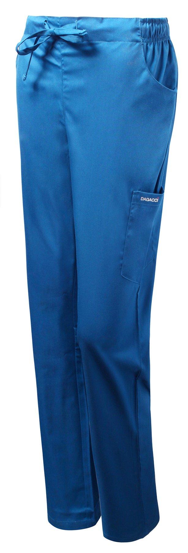 Dagacci Medical Uniform Women's Scrub Natural Stretch Y-Neck Stitch Tape Top (Royal Blue, X-Large)
