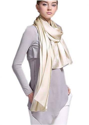Prettystern - 200 X 70cm semplice crepe satin seta pesante lungo foulard di seta in tinta unita – sc...
