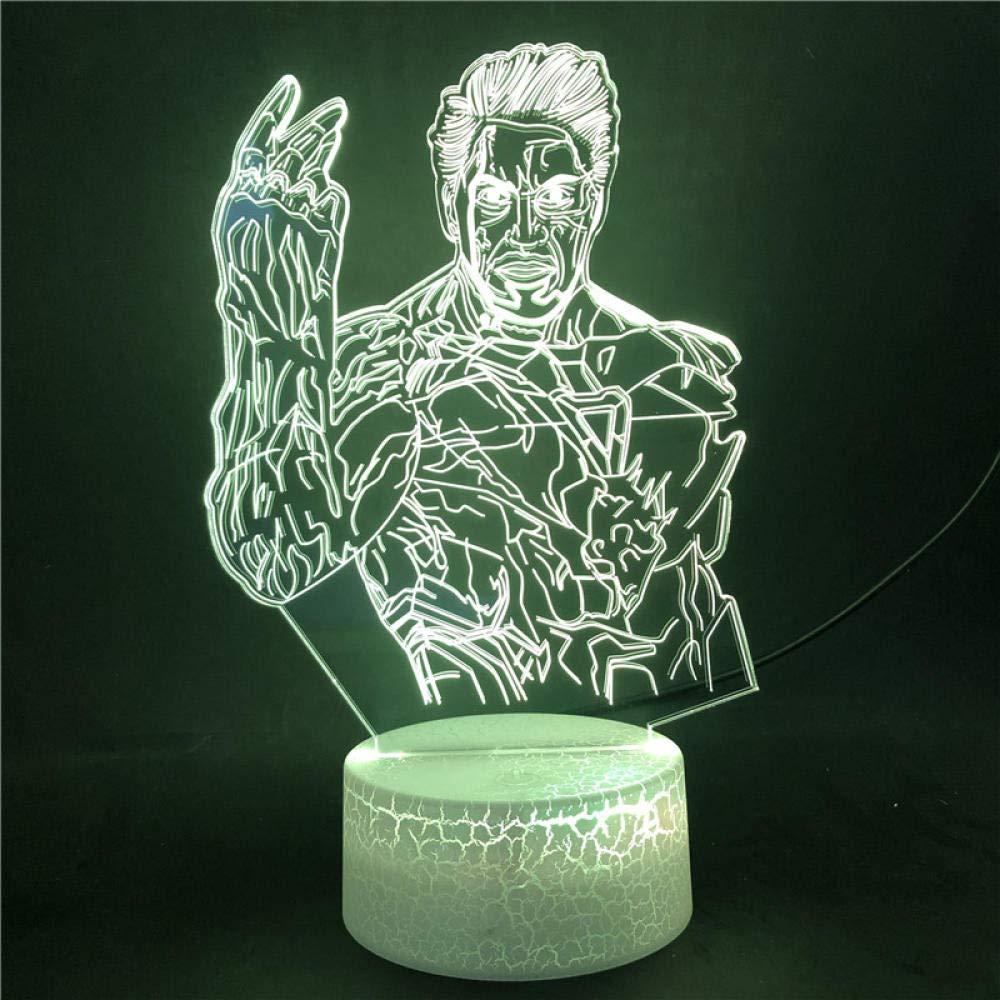 3D-Illusionslampe Led Nachtlicht Wecker Basis Die Avengers Iron Man Marvel F/ür Fans Touch Ensor 7 Farbe Mit Remote Bright Base