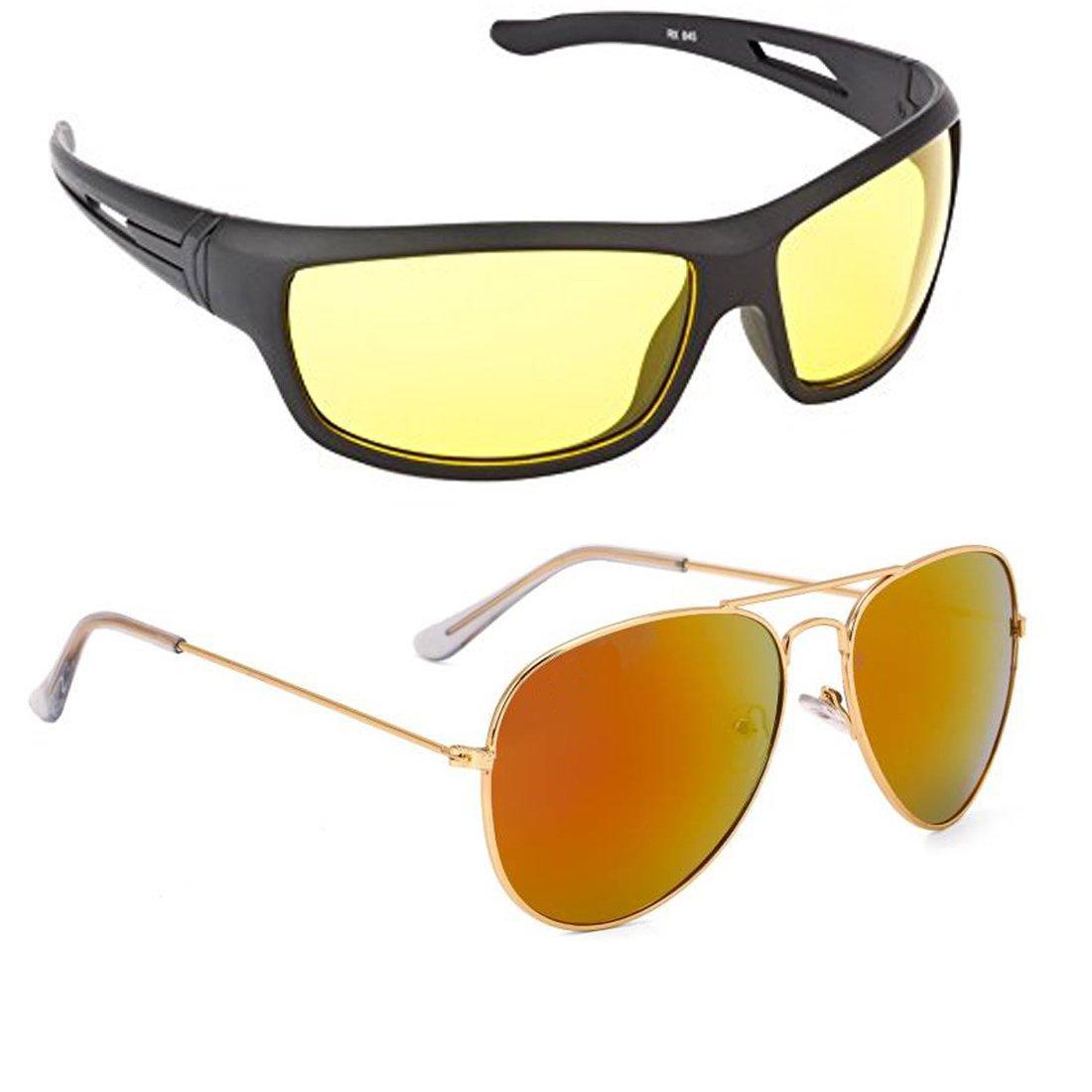 ELLIGATOR Driving at Day and Night Fishing Outdoor Yellow Unisex Anti Glare Sunglasses