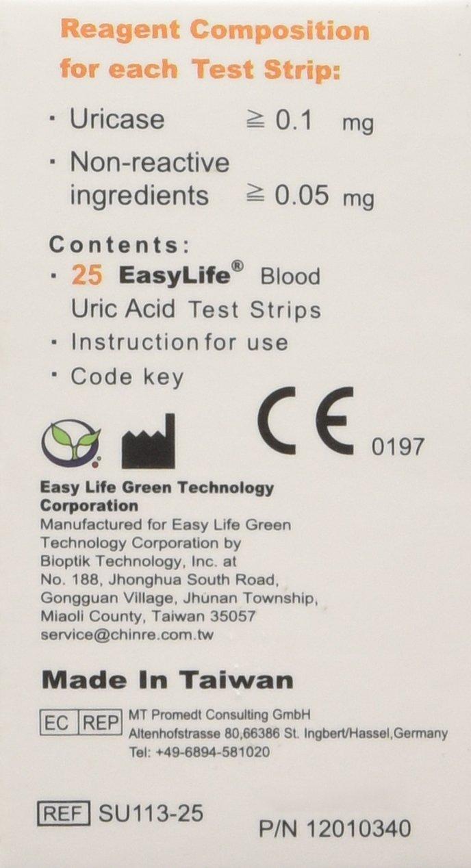 Easylife Blood Uric Acid Test Strips 25pcs Ce Approved Amazon Apexbio Ua Sure Stik 25t Health Personal Care