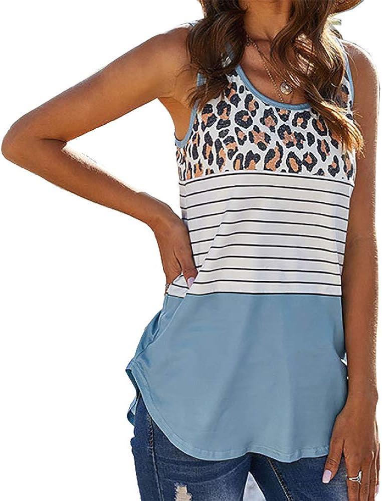 TOPVEST Women Leopard Tank Blouse Casual Stripe Print Sleeveless T Shirt Summer Tunic Tops