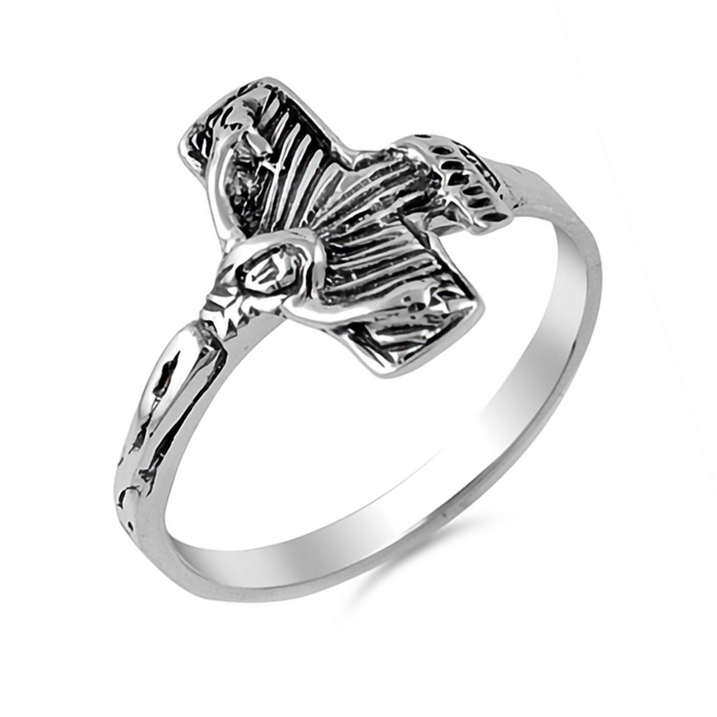 14mm Crucifix Cross 925 Sterling Silver Ring Sizes 5-10