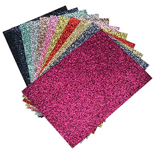 11 Pieces Assorted Colors A4 Size8 X 12 Inch) Faux Leather Chunky Glitter Fabric Canvas Sheets for Bows, Earrings, Hair Accessories Making(11 Colors, Each Color One Sheet