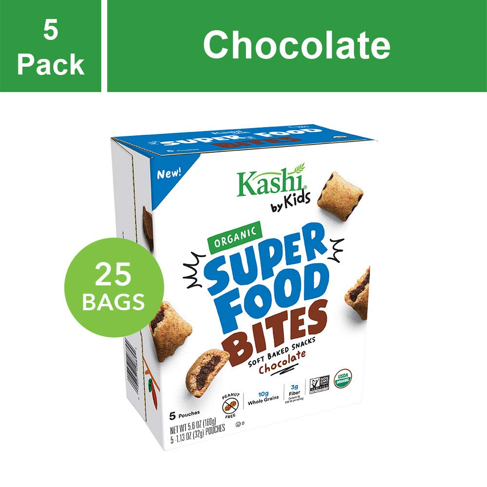 Kashi by Kids Super Food Chocolate Bites - Soft Baked Organic Snacks | Fair Trade Cocoa | Peanut Free - 5 Count (Pack of 5) by Kashi