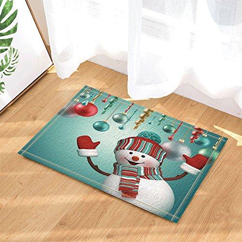 - NYMB Teen Girls Xmas Gift Decor, Christmas Snowman with Tinsel Ball in Turquoise Bath Rugs, Non-Slip Doormat Floor Entryways Indoor Front Door Mat, Kids Bath Mat, 15.7x23.6in, Bathroom Accessories