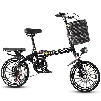 AOHMG Bicicleta Plegable Adulto, 7-velocidades Peso Ligero Bici ...