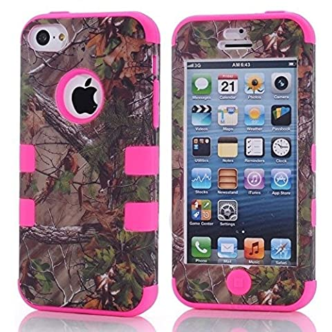 Kecko(TM) Defender Tough Armor Tree Camo Design Triple Layer Shockproof High Impact Camouflage Hunting Tree Forest Hybrid Hard Suitable Fit Protective Case Skin For iphone 5C Only(Not For iphone 5/5S)--Forest/Tree/Branch/Leaves On The Core (Tree Camo Hot (Real Tree Camo Case For Ipod 5)