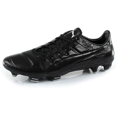 Puma Evopower 1.3 K Leather FG Football Boots - Black/Black - Size 9
