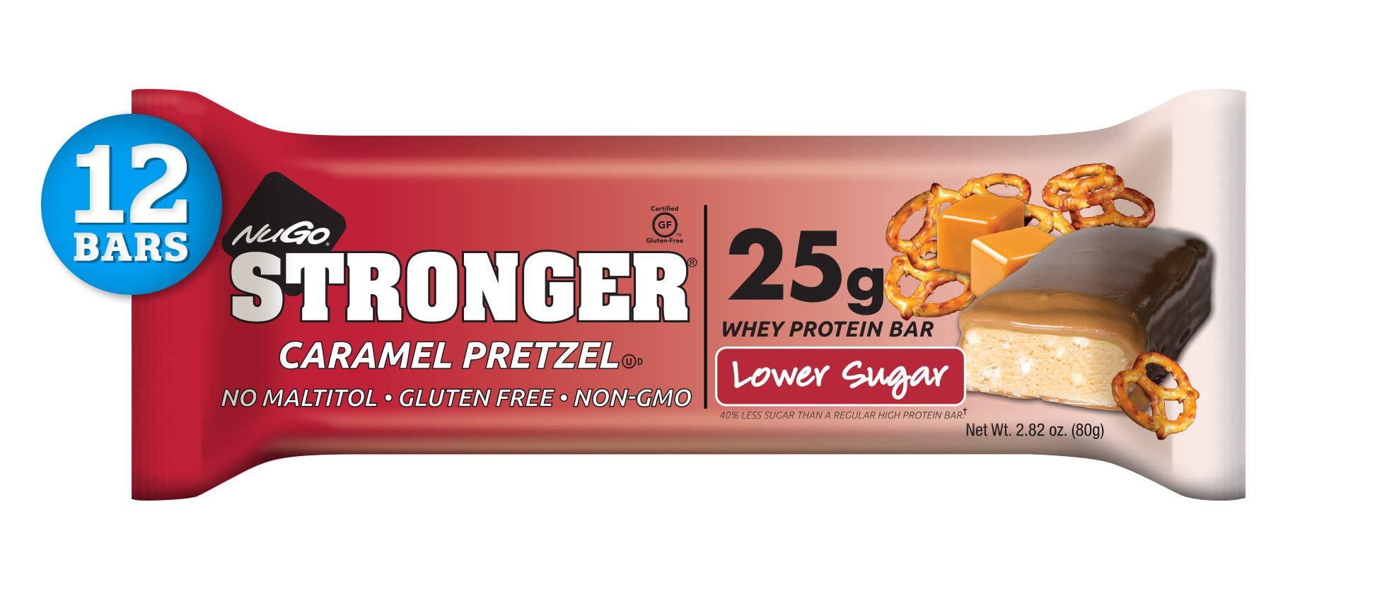 NuGo Stronger Caramel Pretzel, 25g Whey Protein, 10g Fiber, Gluten Free, 12 Count by NuGo