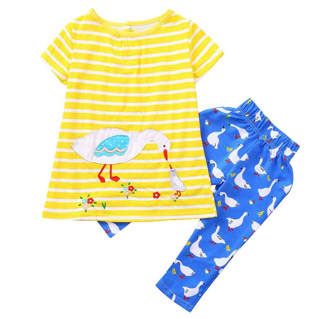 Little Girls Pajamas Sets for 0-3 Years Old,Jchen(TM) Infant Baby Little Girl Cute Animal Strawberry Print Cartoon Striped Dress+Pants Home Wear Outfits (Age: 2-3 Years Old, Yellow)