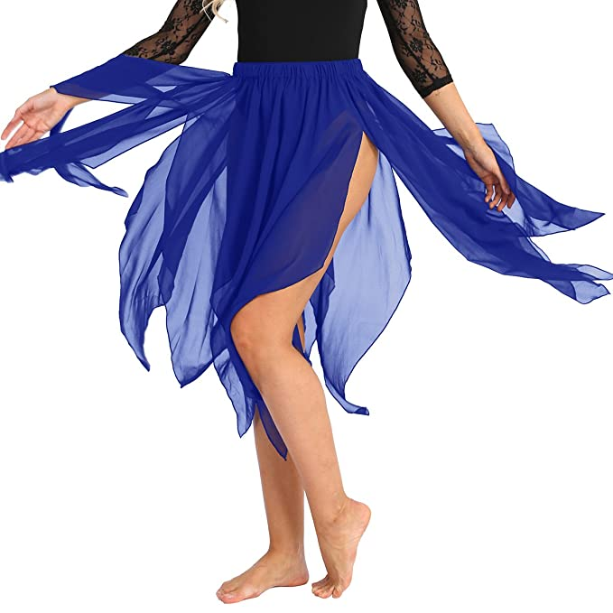 TiaoBug Mujer Falda Asimétrica para Danza Ballet Vientre Cintura ...