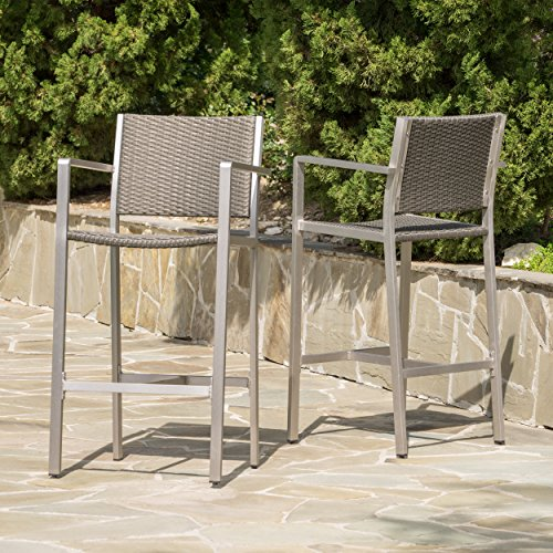 Christopher Knight Home 300355 Capral Outdoor Grey Wicker Barstools (Set of 2)