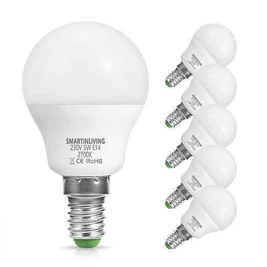 SmartinLiving 5W P45 E14 Bombillas LED de repuesto de 40 W bombilla incandescente, luz blanca