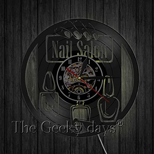 TXYANG Nail Salon Vinyl Record Reloj de Pared Diseño Moderno ...