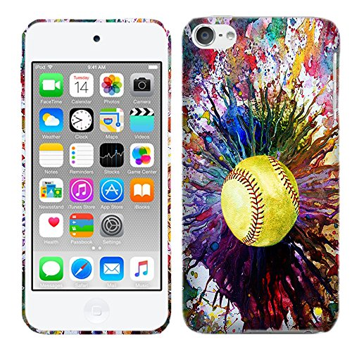 Designer Hard Plastic Case for iPod Touch 6, iPod Touch 5 - Vintage Color Softball Slim Profile Cute Printed Designer Snap on Case by Glisten (Ipod Touch Designer Case)