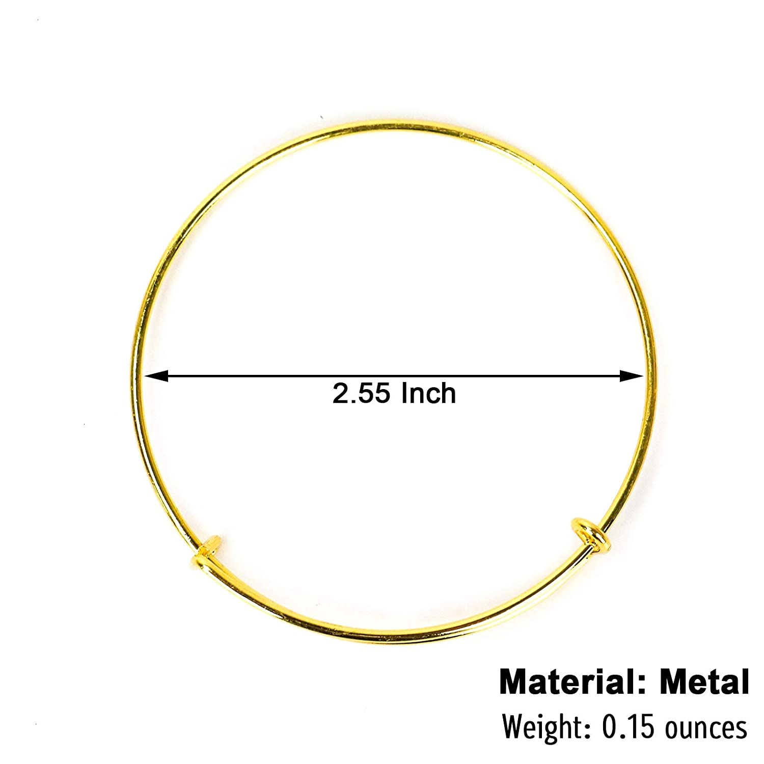 Stainless Steel Adjustable Expandable Wire Blank Bracelets for Womens DIY Jewelry Making Gold, 2.56inches Timoo 20 Pcs Metal Blank Bangles