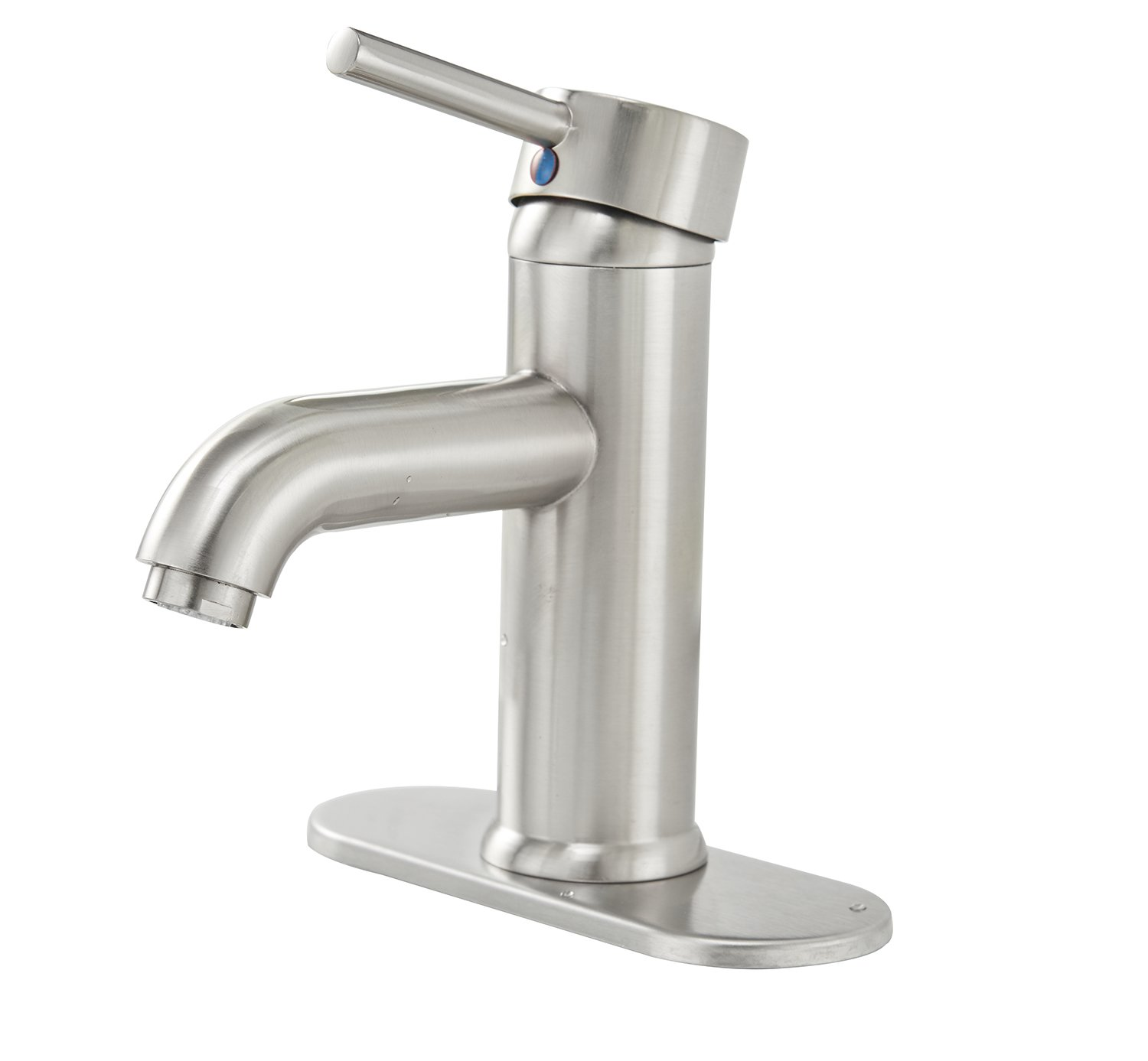 Greenspring One Hole Single Handle Bathroom Sink Faucet with Deck Plate Deck Mount Lavatory Stainless Steel Brushed Nickel