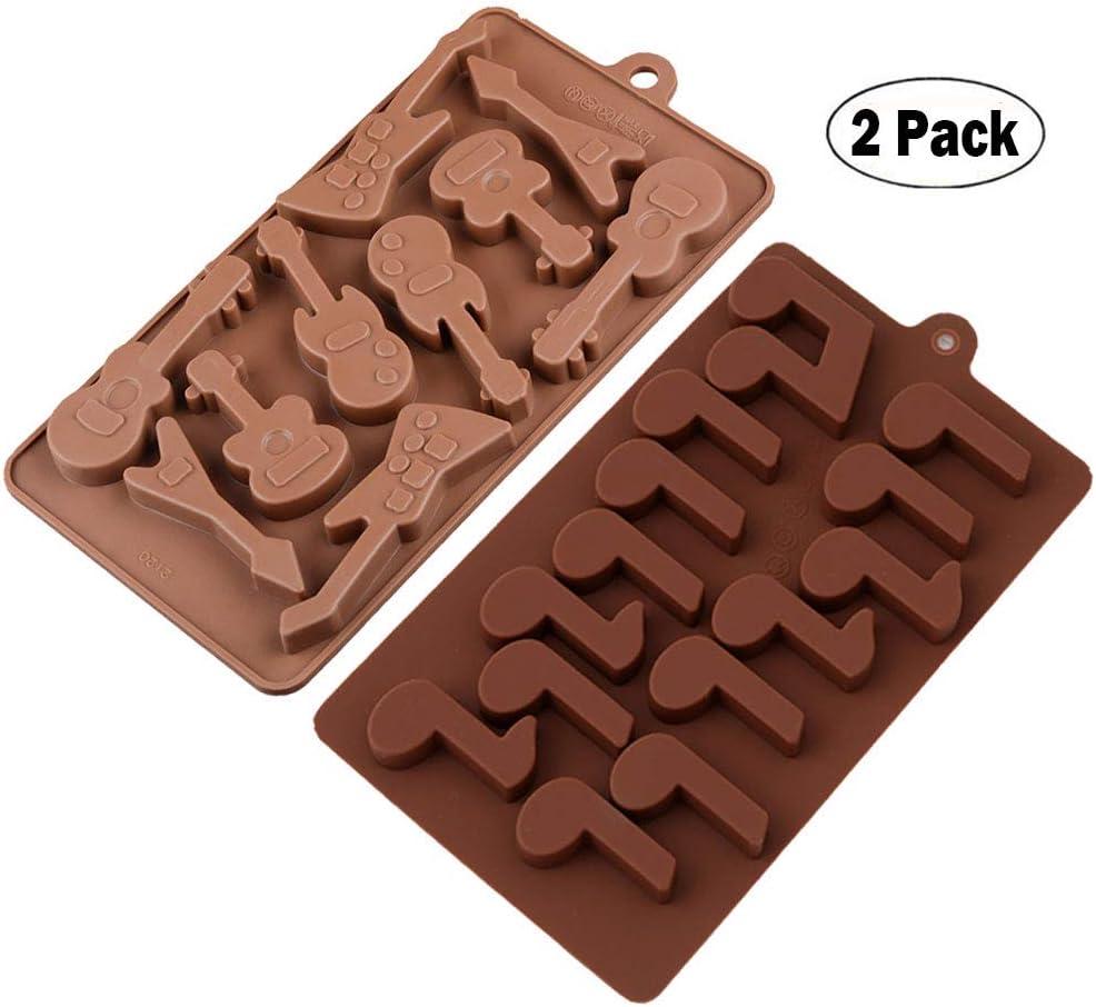 KBstore 2 Pack Moldes de Bombones de Silicona - Forma de Guitarra Nota Molde de Silicone para Chocolate/Caramelo de Café/Cubo de Hielo/Gelatina/Mini Jabon #3: Amazon.es: Hogar