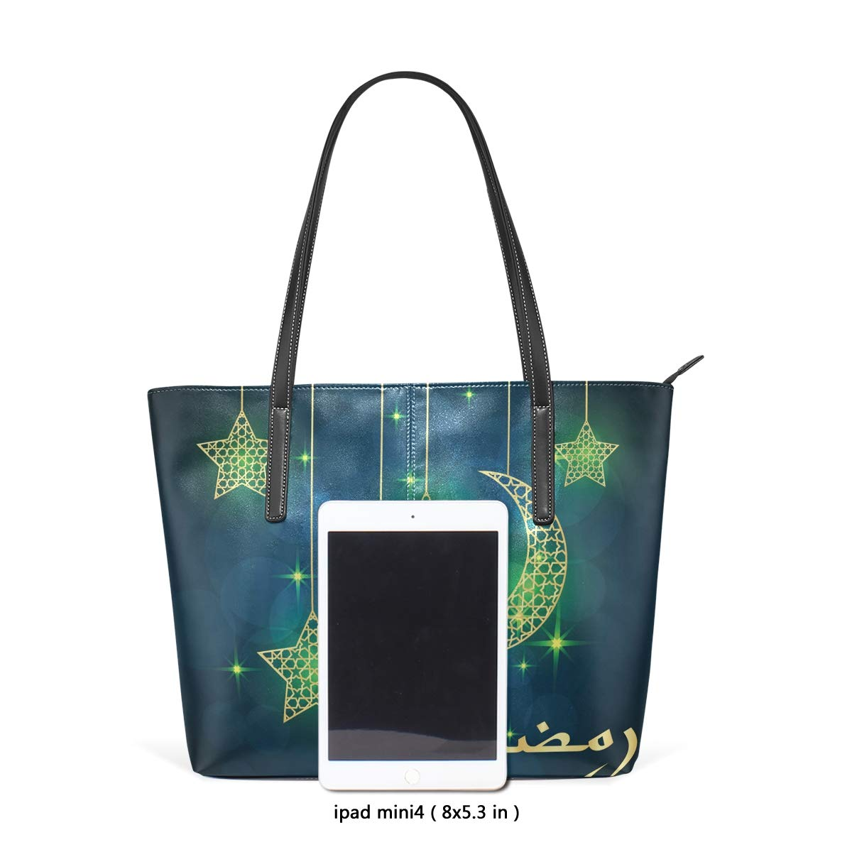 Ancient Moon Stars Space Womens PU Leather Tote Shoulder Bags Handbags Casual Bag