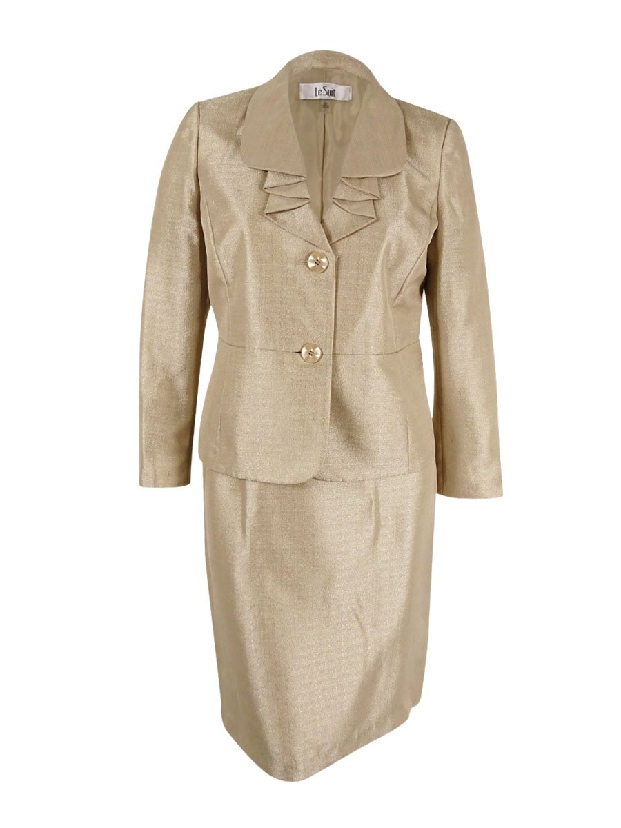 Le Suit Women's Shimmer 1 Button Jacket Skirt, Wheat, 16