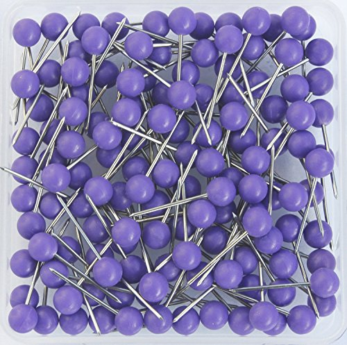AnMiao Star 1/8 Inch Map Tacks, Push Pins, Plastic Round Head, Steel Point,100-Count,Purple Colors