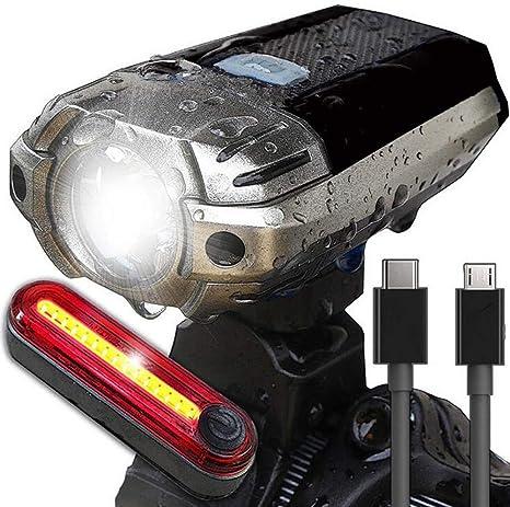 FYLY-Luces Bicicleta, USB Recargable LED Juego de Luces de ...