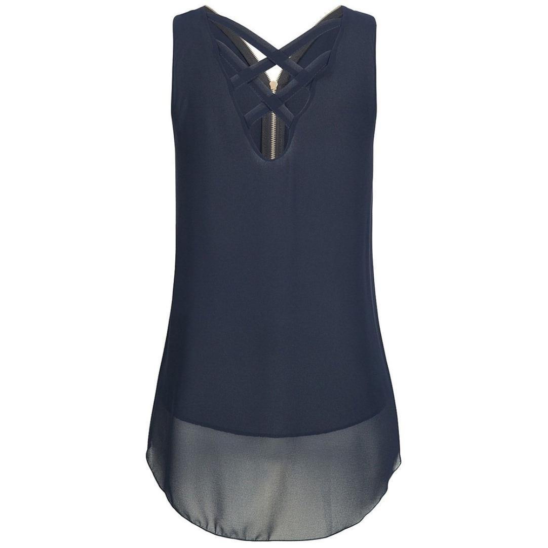 Camisetas verano mujer,❤️Ba Zha Hei Tops sin mangas con espalda cruzada y espalda cruzada para mujer Vestido Para Mujer Verano sin mangas Beach Printed ...