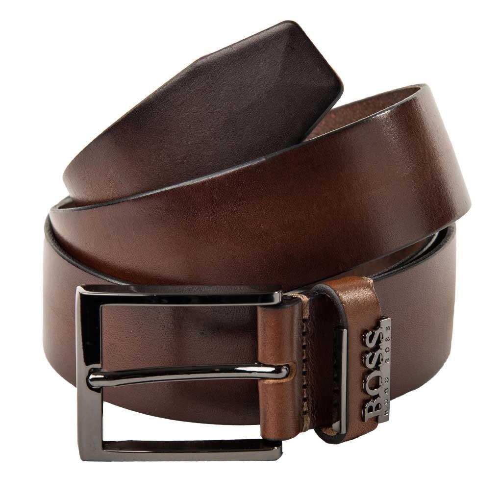 HUGO BOSS Men's Belt, Senol, Real Leather with Metal Buckle, Metal Logo: Colour: Medium Brown | Size: 105 cm