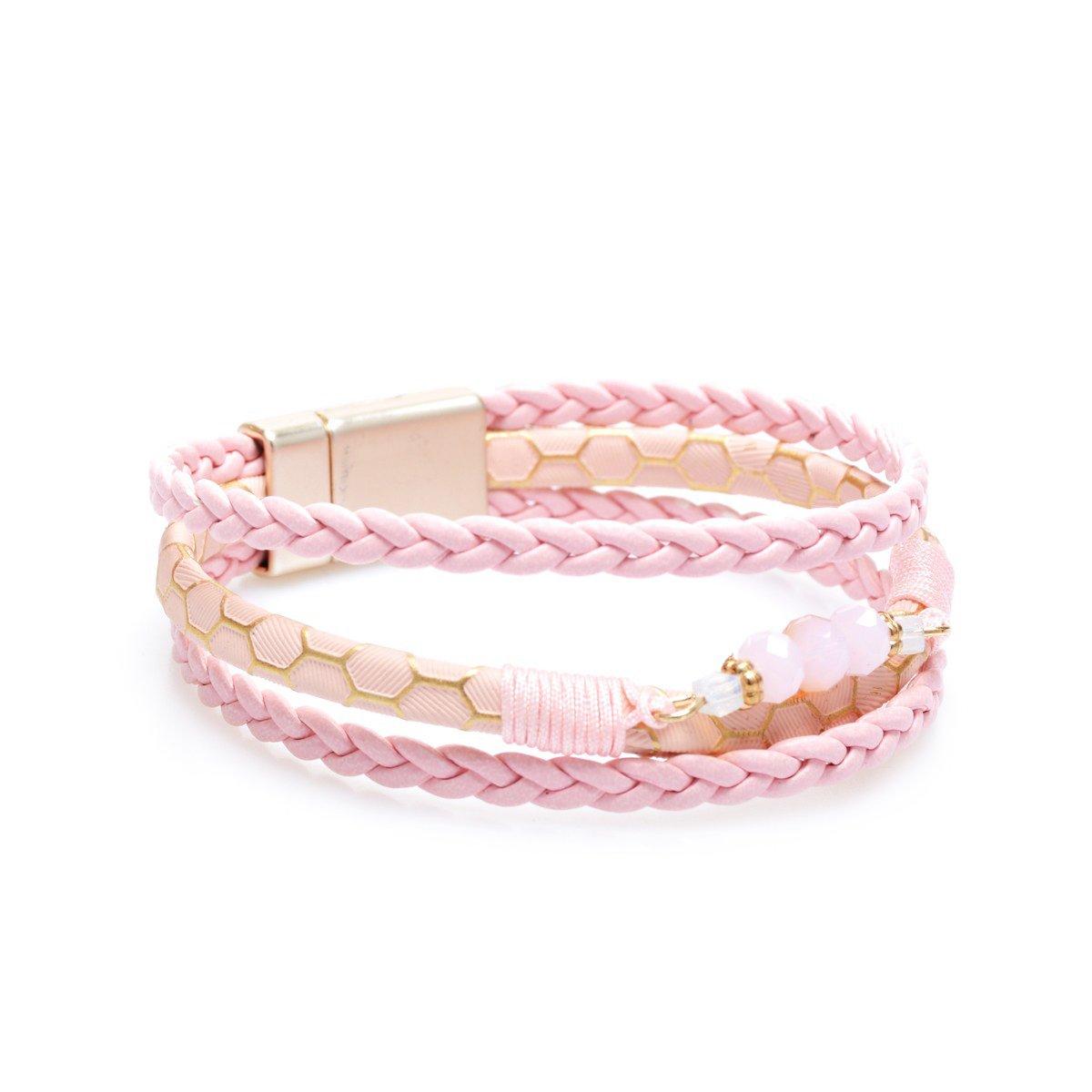 YOYOMA Leather Bracelets for Women, Magnetic Clasp Wrap Bangle Bracelet Braided Multilayer Cuff Bracelet B34