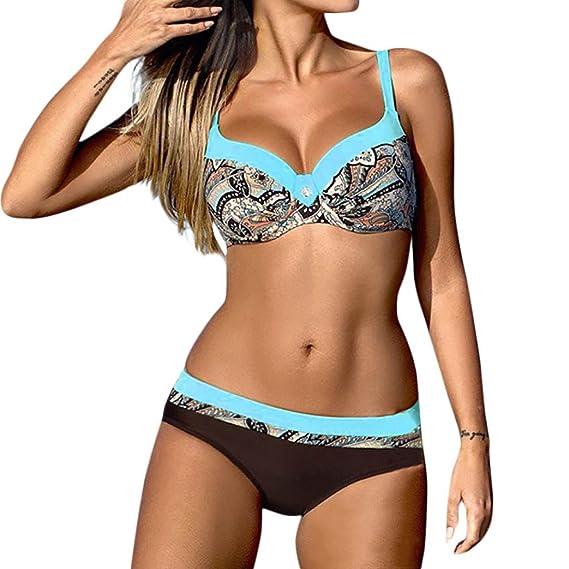 Dreieck Bikini-Set Badeanzug Badebekleidung Gepolstert Push-Up Sommer Beachwear