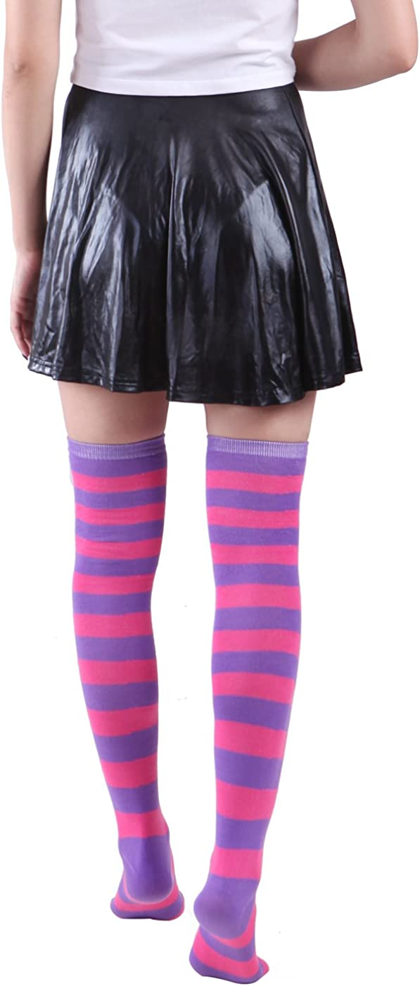 HDE Womens Extra Long Striped Socks Over Knee High Opaque Stockings/…