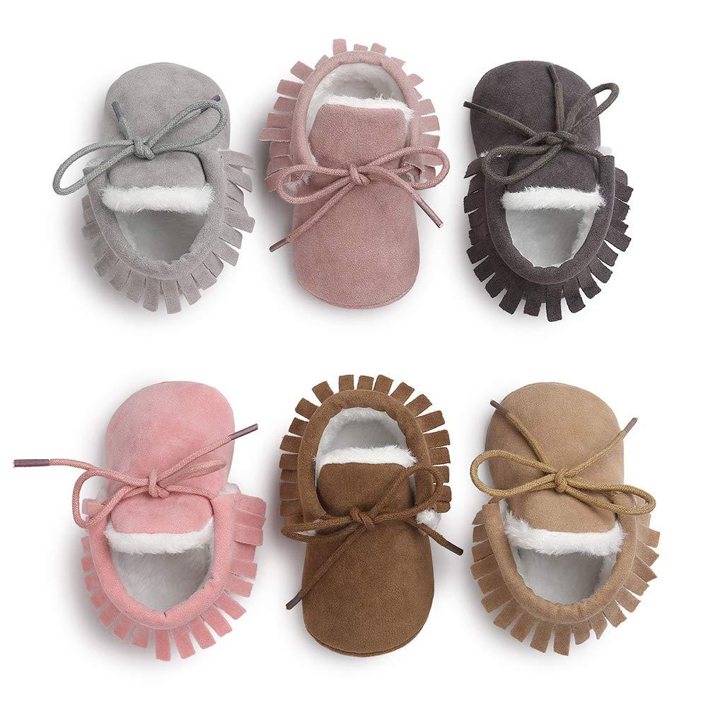 SelansKJ Frosted Tassel Infant Baby Warm Soft Sole Anti-Slip Prewalker Toddler Shoes