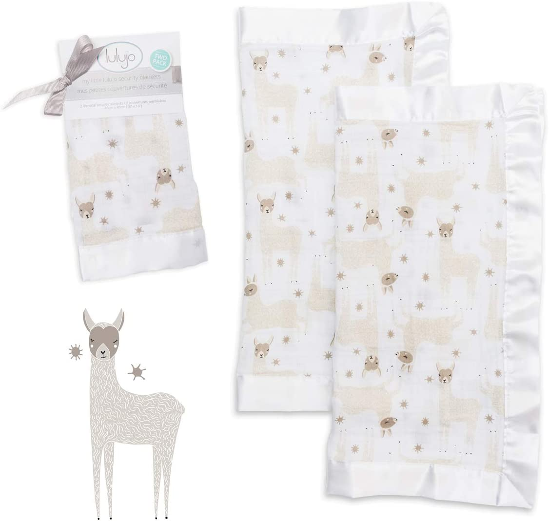 Unisex Softest Breathable Cotton Muslin Security Blanket with Silky Satin Trim 16in by 16 in Llama Neutral Comforting Blanket for Girls /& Boys lulujo Baby Security Lovie Blankets