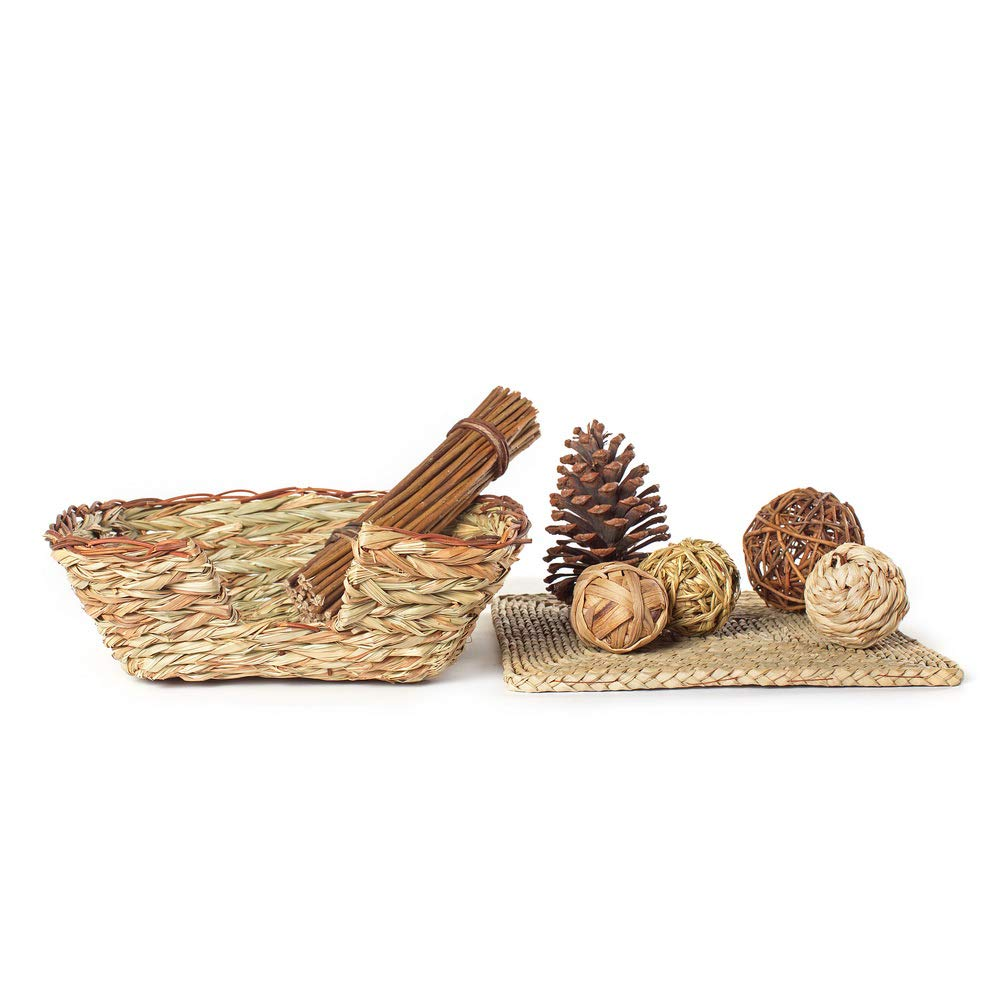 Niteangel Woven Grass Small Animal Bed with Fun Play Toys