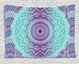Ambesonne Purple and Turquoise Tapestry, Hippie Ombre Mandala Inner Peace and Meditation with Ornamental Art, Wall Hanging for Bedroom Living Room Dorm, 60 W X 40 L inches, Purple Aqua