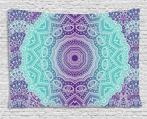 Ambesonne Purple and Turquoise Tapestry, Hippie Ombre Mandala Inner Peace and Meditation with Ornamental Art, Wide Wall Hanging for Bedroom Living Room Dorm, 60