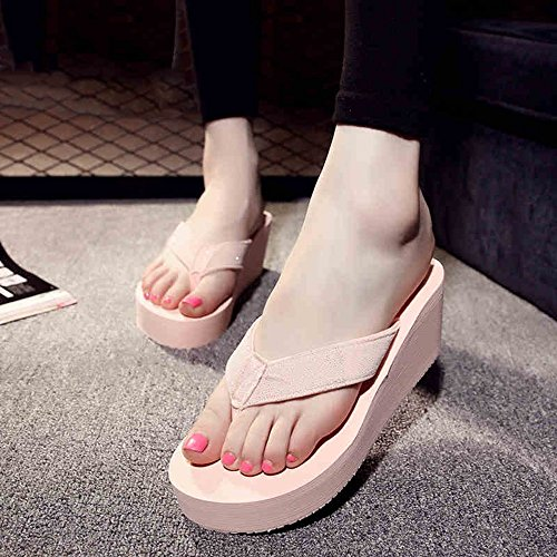 Mujeres Señoras Sandalias Sandalias / chancletas Zapatos de playa Zapatillas antideslizantes Sandalias de estudiante (Negro / Rosa / Blanco) Cómodo ( Color : Negro , Tamaño : 37 ) Pink