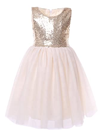 d3439cdcb Cilucu Flower Girls Dresses Kids Birthday Party Dress Toddlers Sequin Tutu  Dress Pageant Gown Sleeveless Gold