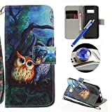 Etsue Samsung Galaxy S8 Plus Wallet Case, Samsung Galaxy S8 Plus Leather Case with Cute Design Flower Pattern Wallet Flip Case Cover with Stand Book Type Magnetic Closure for Samsung Galaxy S8 Plus+Blue Stylus Pen+Bling Glitter Diamond Dust Plug(Colors Random)-Cute Owl