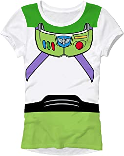 Disney Pixar Buzz Lightyear Costume Juniors T-Shirt ?Ǫ (Extra Large, White)
