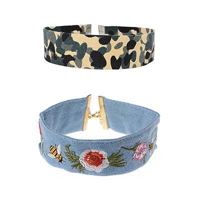 2 Pcs Set Choker Collier Broderie Chinoise Clavicule Chaîne Femmes Rétro Fleurs Collier Court Collier en tissu à la main modèle de camouflage Robe Accessoires pour bijoux (bleu + vert)