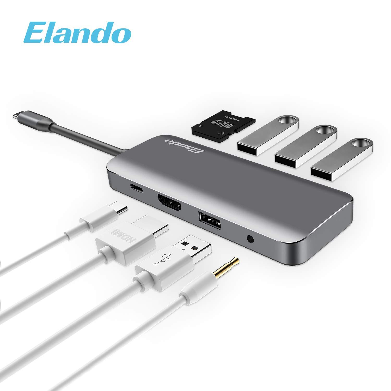 Elando USB C Hub, Aluminum USB Type C Hub with 4K HDMI, USB-C Power Delivery, USB 3.0, USB 2.0, Audio Jack SD/TF Card Reader for USB C Device 2017 Type-C Laptops