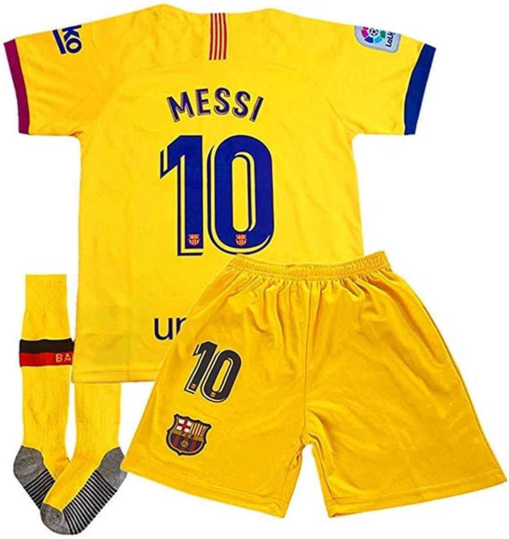 Amazon Com New Season Messi 10 Jersey Barcelona Away 2019 2020 Kids Youth Jersey Shorts Socks 22 28 Size 13 14y 28 Yellow Clothing