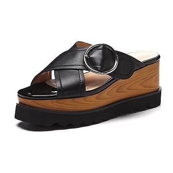 KJJDE Damen Riemchen Wedges Sandalen WSXY-L1425 Runde Schnalle Pumps Keilabsatz High Heels Schuhe Bequem