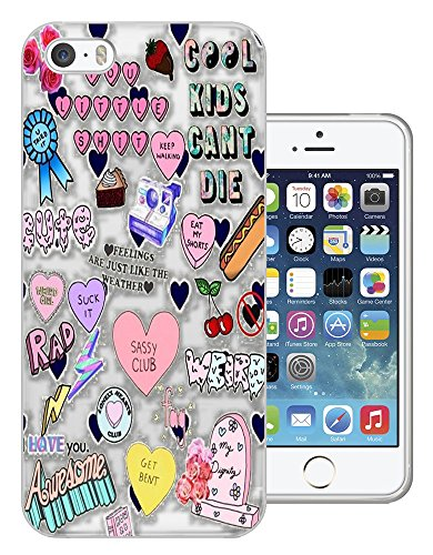 c01430 - Kids Sassy Rad Hearts Rock Design iphone 4 4S Fashion Trend CASE Gel Rubber Silicone All Edges Protection Case Cover