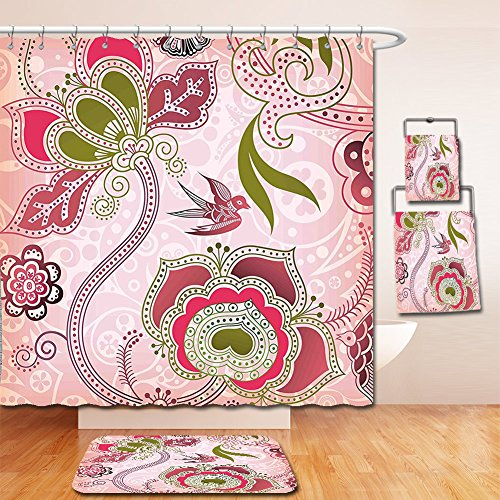 Nalahome Bath Suit: Showercurtain Bathrug Bathtowel Handtowel Ethnic Indian Asian Floral with Scroll Swirl Leaf Lines Boho Artwork Olive Green Light Pink Dried Rose