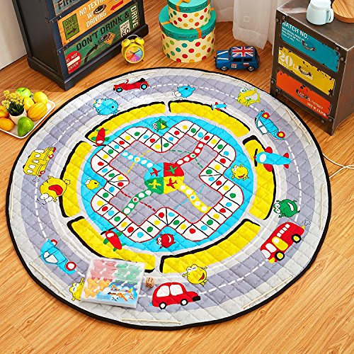 Newcreativetop Large 58 Inches Diameter Cotton Washable Baby Kids Play Floor Mat Toy Storage Bag Organizer Quickly and Easily Folds Up, Perfect for Building Blocks & Small Toys (Play Game) Pure Activity Playmat