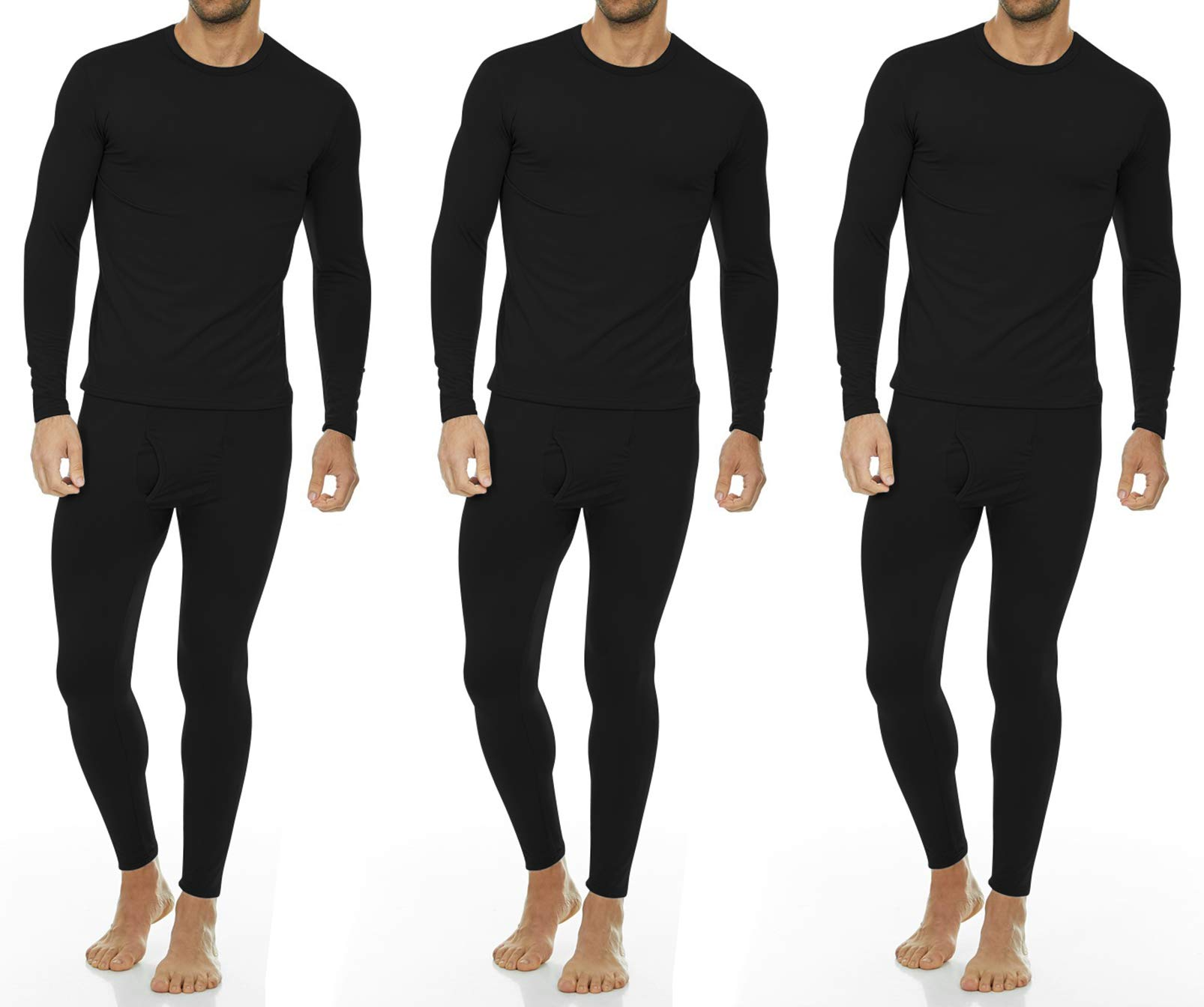 Thermajohn Men's Ultra Soft Thermal Underwear Long Johns Set with Fleece Lined (XX-Large, 3 Pack - Black) by Thermajohn (Image #1)
