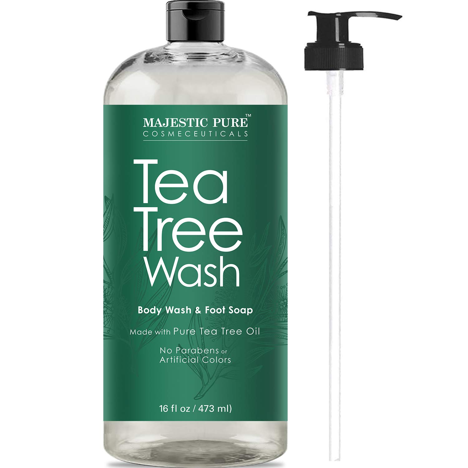 Tea Tree Body Wash, Helps Nail Fungus, Athletes Foot, Ringworms, Jock Itch, Acne, Eczema & Body Odor, Soothes Itching & Promotes Healthy Feet, Skin and Nails, Naturally Scented, 16 fl. oz. by Majestic Pure